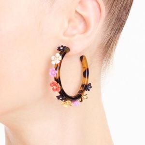 NEW J.Crew Gardena floral tortoise hoop earrings